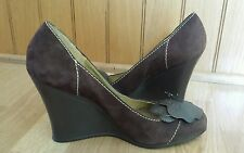 BCBG Paris Nina Suede Wedge Women Brown Wedge Shoes Size 91/2 B