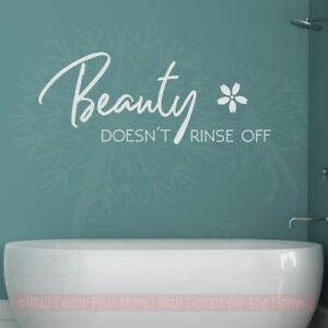 Beauty Doesn't Rinse Off Girls Bathroom Art Quote Wall Sticker Letter Decal Word