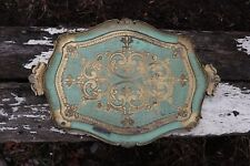 Florentine Italian Hand Painted Dinner Tray Wooden Gilt Serving Tray Midecentury