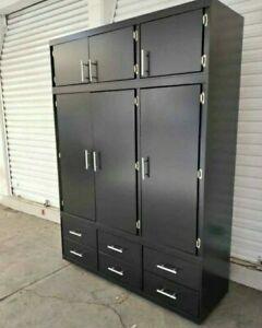 Solid Armoire Wardrobe Closet Storage Cabinet Organizer new black large sturdy