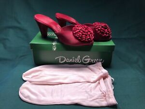 1950's 60's Dark Red Boudoir Slippers- Size 6 1/2 Daniel Green