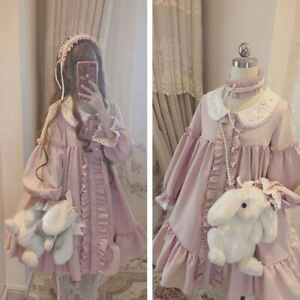 Long Sleeves Cardigan Dress Pink Long Sleeve Lolita Dress Kawaii Princess Party