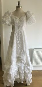 White Lace Wedding Dress with Bow, Sequin, Bead & Pearl Trim, Size 16 UK