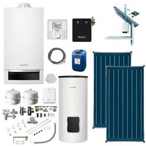 Buderus Paket Gas-Brennwert Therme GB172 Speicher RC200 Solar Kollektoren Abgas