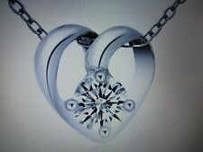 "Valentines Love CZ Heart Pendant with Silver Plated 18"" Necklace"
