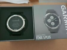 Garmin Fenix 5 Plus - Silver - Black Band Excellent Condition - Boxed and Mint