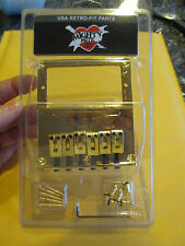 MIGHTY MITE BRIDGE FITS A FENDER TELECASTER in GOLD HUMBUCKER CUT OUT