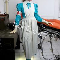 Latex Rubber Nurse Uniform Cosplay Two-piece Suit Dress Surgical gown Size:S-XXL