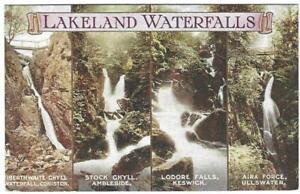 OLD PHOTOCHROM POSTCARD 1930's - LAKELAND WATERFALLS MULTIVIEW - LAKE DISTRICT