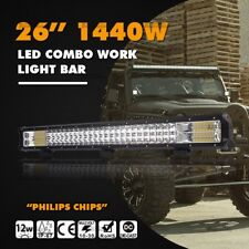 "Tri Row 27""inch 1440W LED Light Bar ComboSpot Flood  Beam Car Boat 4WD 26"""