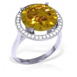 Genuine Citrine Round Cut Gem & Diamonds Halo Ring 14K Yellow, White, Rose Gold
