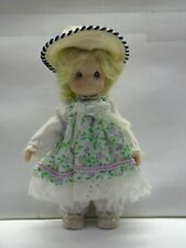 "Porcelain Mini Doll Hat Floral Green Purple Fabric Dress Heart Bloomers 5"" x 3"""