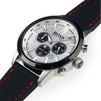 Hugo Boss 1513185 Black Silicone Strap Chronograph Dial Men's Watch