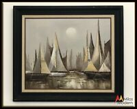 60s Mid Century Modern Art Large Abstract Oil Painting Sailboats on Water Moon