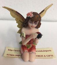 "Miniature Autumn Fairy w Pet Ladybug Figurine 3"" H Small Faery Collection"