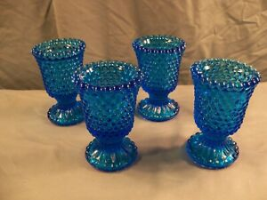 Lot of 4 Blue Glass Hobnail Footed Votive Candle Holders