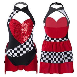 Kids Girls Clothes Sequins Heart Applique Leotard Jumpsuit Halter Neck Bodysuit