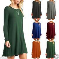 Women Ladies Casual Loose Long Tops Cotton Tunic Swing Skater Mini Skirt Dress