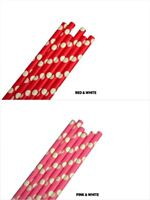"""Eco-Friendly 7.75"""" POLKA DOTS Design Paper Straws Choose Color & Package Amount"""