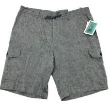 Cubavera Cargo Shorts Mens Size 38 Charcoal Grey Linen Blend Heathered New