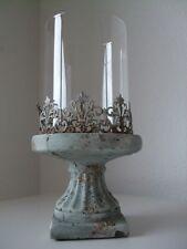 Windlicht Kerzenhalter antik finished creme mit Glaszylinder groß