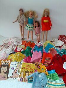 1960's Mattel Skipper, Ricky, Fluff, Tutti, junk doll clothes BIG lot TLC parts
