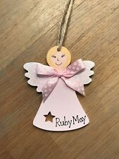 Painted Wooden Pink angel Personalized Christmas Decoration