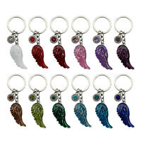 Guardian Angel Feather Crystal Month Birthstone Key Ring Gemstone Gift Boxed