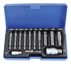 """12pc Twist Hex/ Allen Bit Bolt/ Screw Extractor Tool Set 1/4"""" & 1/2"""" Dr 1.5-10mm"""