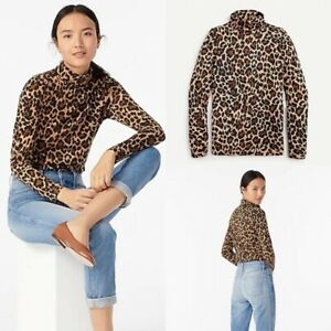 J.Crew Tissue Turtleneck Top in Leopard Camel Black New with Tag Size S