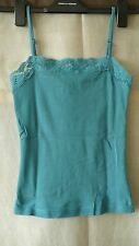 Debenhams cotton blue top with adjustable straps and lace size UK 8