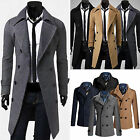 Mens Slim Stylish Trench Coat Formal Double Breasted Overcoat Long Jacket XS-XL