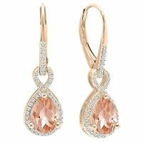 4 Ct Oval Cut Morganite Drop/Dangle Halo Earrings 14K Rose Gold Plated ITALY