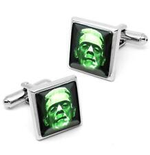 Frankenstein Universal Monster Horror Silver Icon Glass Cufflink Set w/ Box