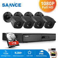 SANNCE 4CH 1080P DVR Outdoor HD 2MP CCTV Security Camera System Night Vision 1TB
