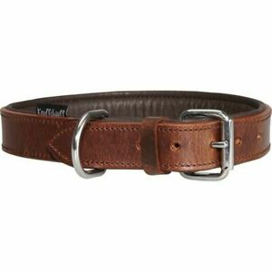 Knuffelwuff® Halsband Leder Lederhalsband alle Hunde Größen braun K38