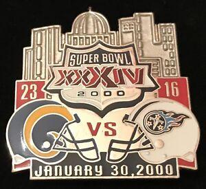 Super Bowl 34 Final Score  Collector Pin Rams vs Titans