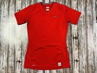 Women's Nike Pro Fitted V- Neck Shirt Sleeve Red Shirt Size Small