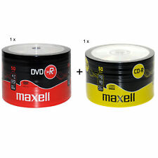 MAXELL 50Pk DVD-R And CD-R Blank Recordable Disc CDs CDR DVDR 1 Pack Of Each