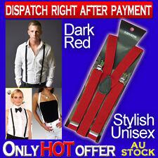 DARK RED WOMEN OR MENS CLIP ON ADJUSTABLE SUSPENDERS  UNISEX Y-BACK BRACES