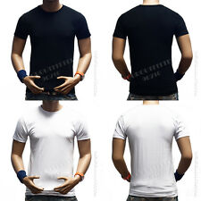 Men Plain Slim Fit Plain Crew Neck Fitted T-Shirts Muscle Tee Short Sleeve S~3X