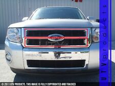 GTG 2008 - 2012 Ford Escape 2PC Gloss Black Upper Overlay Billet Grille Kit