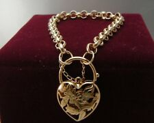 Or jaune 18 carats GF Heart Filigree Locket charme Chain Women Solid Bracelet