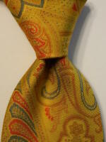 ETRO Men's 100% Silk Necktie ITALY Luxury Geometric Yellow/Blue/Orange/Pink EUC