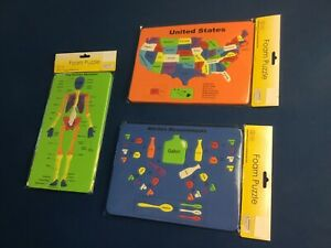 Educational aids: foam puzzles of USA map, human skeleton, kitchen measurements
