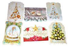 Punch Studio 6 Die-Cut Christmas Cards Antique Ephemera Coastal Seashell 60813