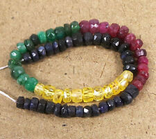 """Multi SAPPHIRE RUBY EMERALD 3-5mm Faceted Rondelle Beads 8"""" Str 36 Cts+ EDH QTY"""