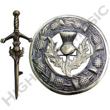 Thistle Hilt Kilt Pin & Brooch Badge Set Fly Plaid High Quality Antique Finish
