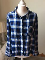M&S Collection Blue Mix Check Plaid Long Sleeve Shirt Blouse Ruffle Size 20