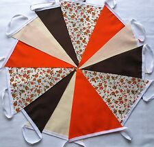 12 FT Autumn Calico Handmade Fabric Bunting Floral Brown Orange Rustic CLEARANCE